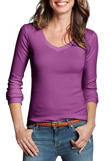 Shirt mit Langarm und V-Ausschnitt