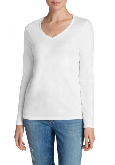Essential Slub Shirt - Langarm mit V-Ausschnitt Damen