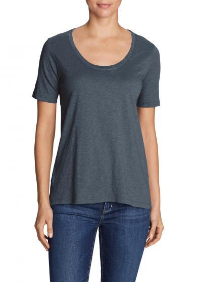 Legend Wash Slub-Shirt - Longshirt - Kurzarm mit Rundhalsausschnitt Damen