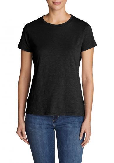 Legend Wash Slub Shirt - Kurzarm mit engem Rundhalsausschnitt Damen