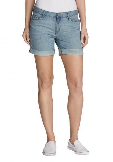 Boyfriend Jeans-Shorts - bestickt