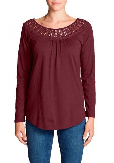 Lola Shirt mit Spitzenausschnit - Langarm Damen