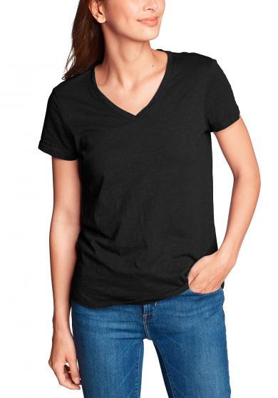 Legend Wash Slub Shirt - Kurzarm mit V-Ausschnitt Damen