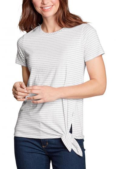 Gatecheck Side Tie T-Shirt - Gestreift Damen