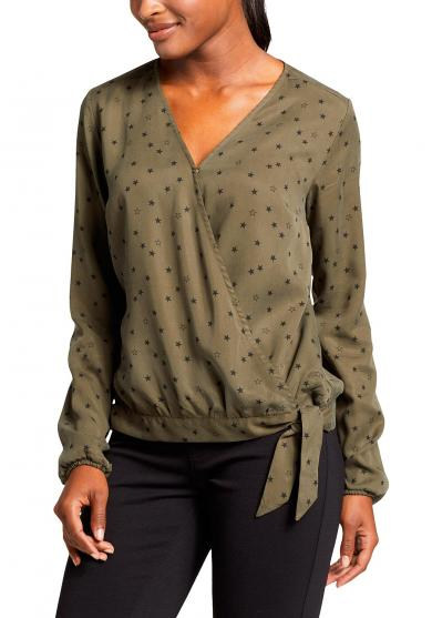 TRANQUIL WRAP TIE BLUSE - GEMUSTERT