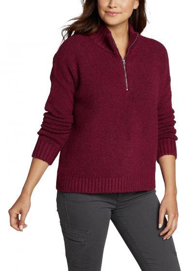 FIRST LIGHT Pullover mit 1/4-Reissverschluss Damen