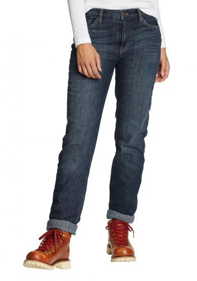 Boyfriend Jeans mit Flanellfutter Damen