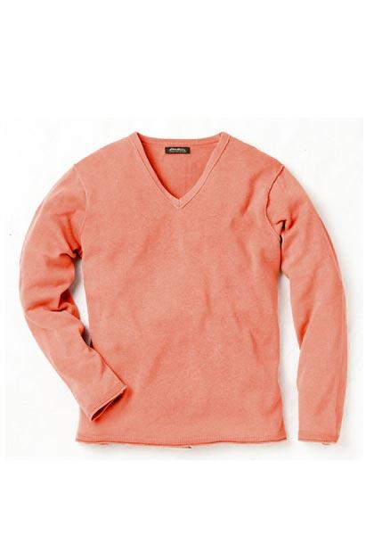 V-Pullover mit Leinen