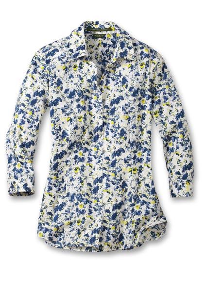 Knitterarme Bluse - 3/4-Arm - Gemustert