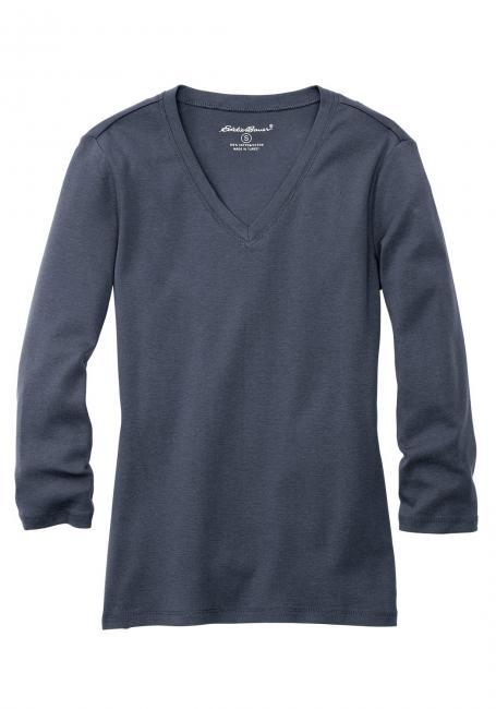 Shirt mit 3/4-Arm und V-Ausschnitt