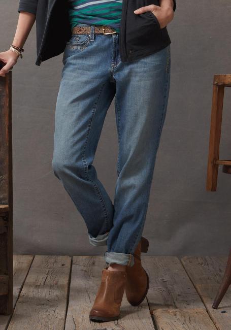 Boyfriend-H, V Leg Jeans mit Stickerei vorn