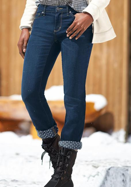 Slightly Curvy-U, Straight Leg Jeans mit Innendruck