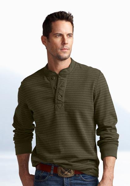 Henley-Sweatshirt gestreift