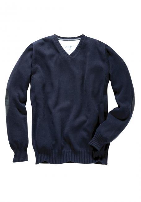 V-Pullover mit Ärmelpatches