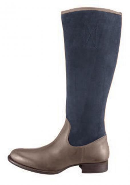 Leder-Stiefel mit kontrastfarbenem Veloursleder