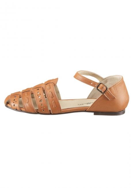 Leder-Sandale mit Fersenkappe