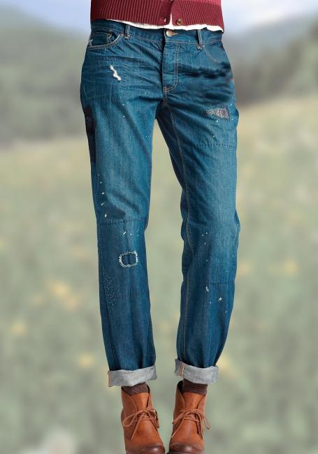 Boyfriend-Jeans bestickt