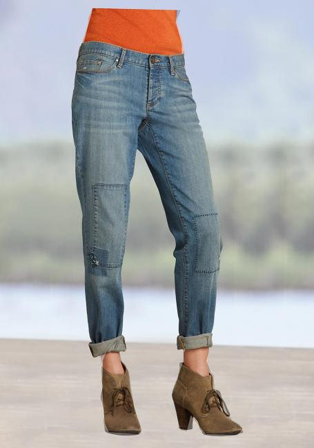 Boyfriend-H, V Leg Jeans mit Patch