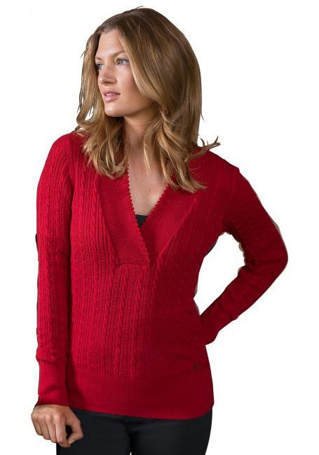 V-Neck Pullover mit Zopfmuster
