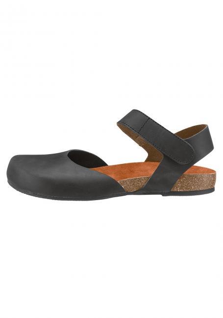 Fettleder-Sandale mit Klettverschluss
