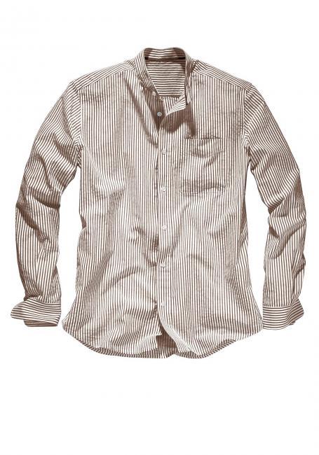 Seersucker-Hemd mit Stehkragen