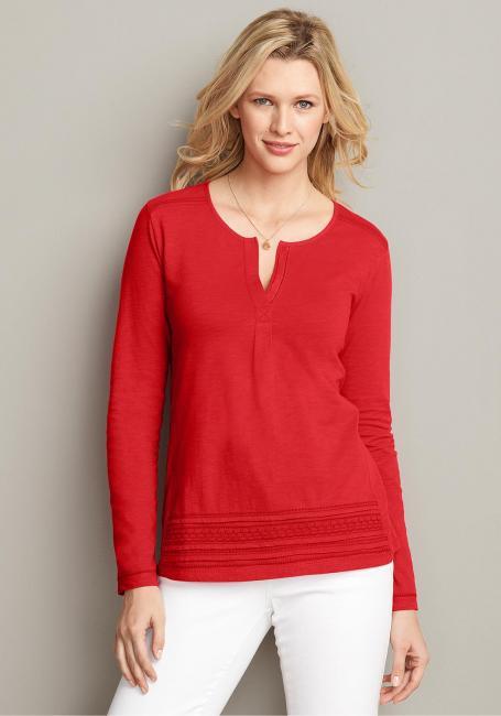 Jerseyshirt mit Y-Ausschnitt