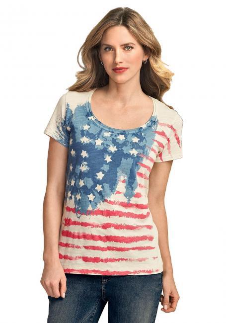 T-Shirt mit Flaggenprint
