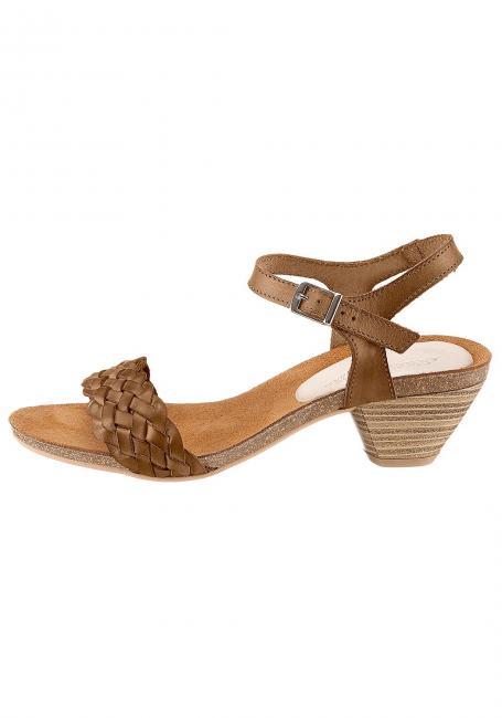 Leder-Sandale mit Knöchelriemen
