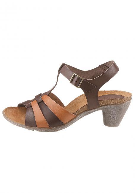 Leder-Sandale mit zweifarbigen Riemen