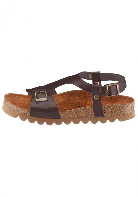 Leder-Sandale mit Korkfußbett