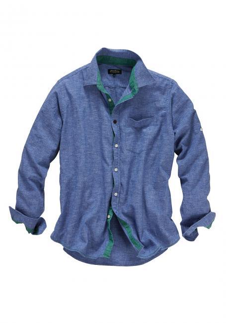 Leinenhemd mit kontrastfarbenen Details
