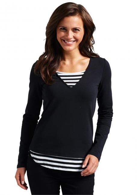 Sweatshirt mit Ringeleinsatz