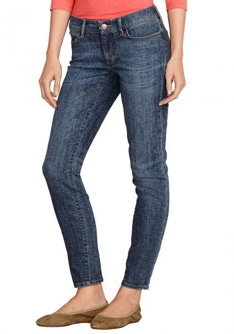 Slightly Curvy-U, Slim Leg Jeans mit Druck