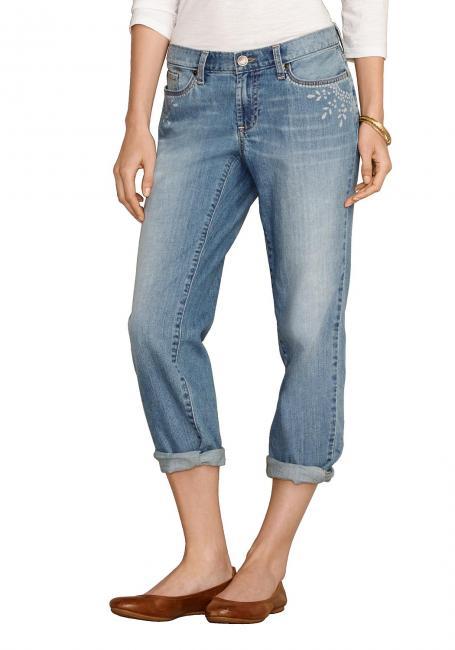 Boyfriend 7/8-Jeans mit Batik-Taschen
