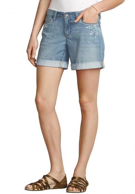 Boyfriend Jeans Shorts mit Batikdruck