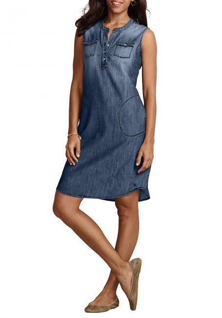 Jeanskleid mit Y-Ausschnitt