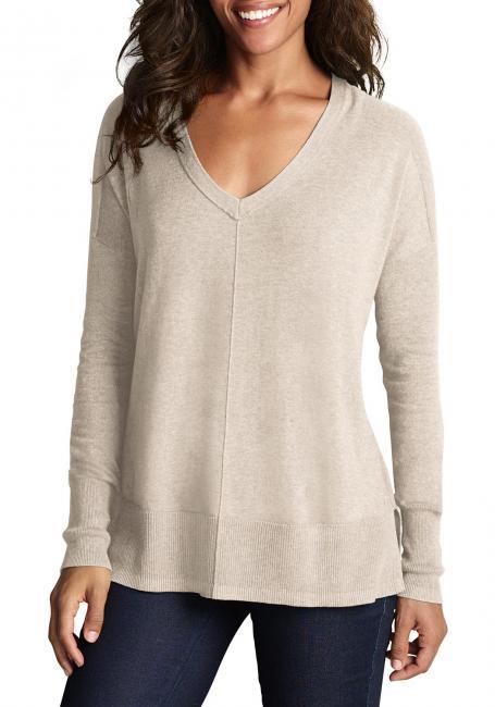 Lässiger Pullover mit V-Ausschnitt