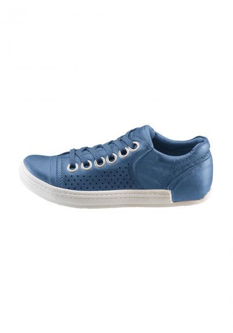 Leder-Sneaker mit Ziernähten