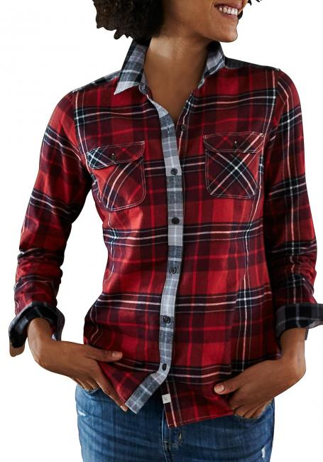 Flanell-Patchbluse