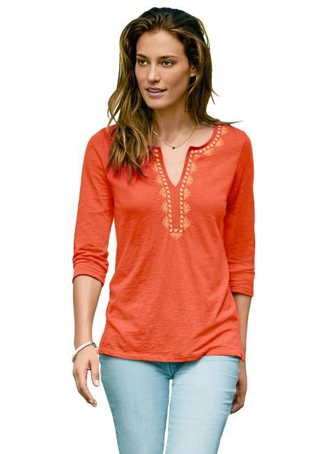 Bestickte Shirt-Tunika