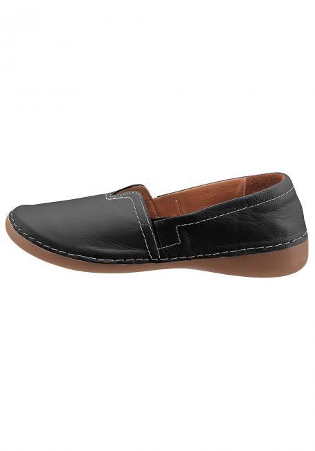 Leder-Slipper mit elastischem Keileinsatz