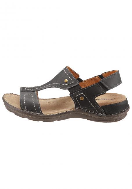 Fettleder-Sandale mit Elastikeinsätzen