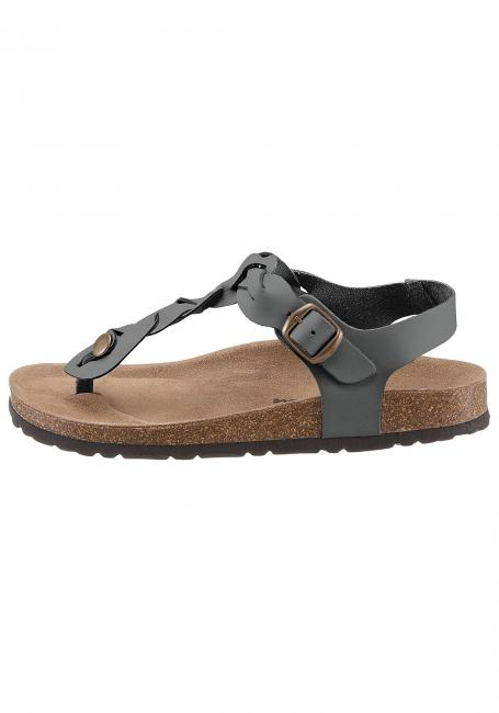 Leder-Sandale mit geflochtenem Zehensteg