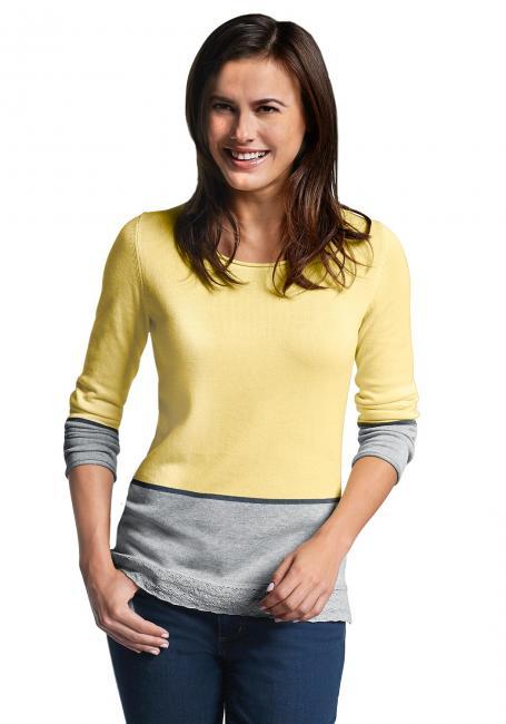 Pullover mit Colorblock und Häkelspitze