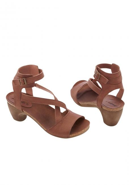 Leder-Sandale mit gekreuzten Riemen