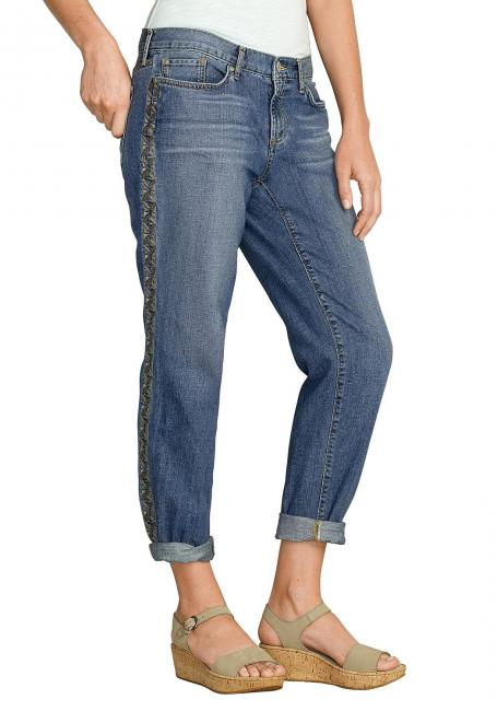 Boyfriend 7/8-Jeans bestickt