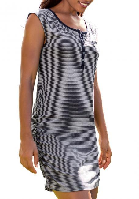 Ärmelloses Kleid geringelt