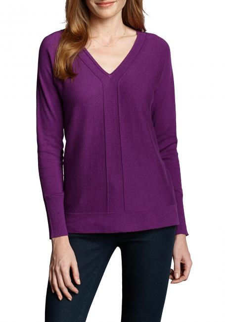 Pullover mit V-Ausschnitt und Teilungsnähten