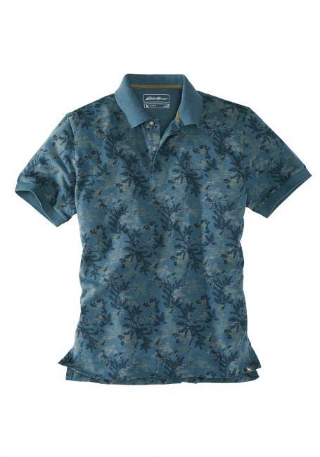 Poloshirt mit Palmendruck