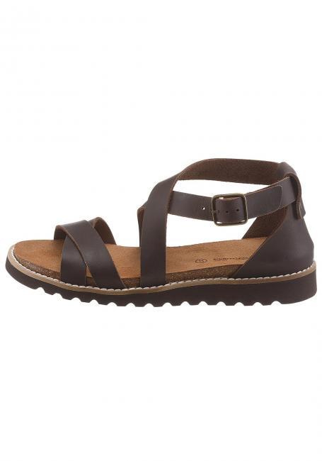 Leder-Sandale mit Ziernaht